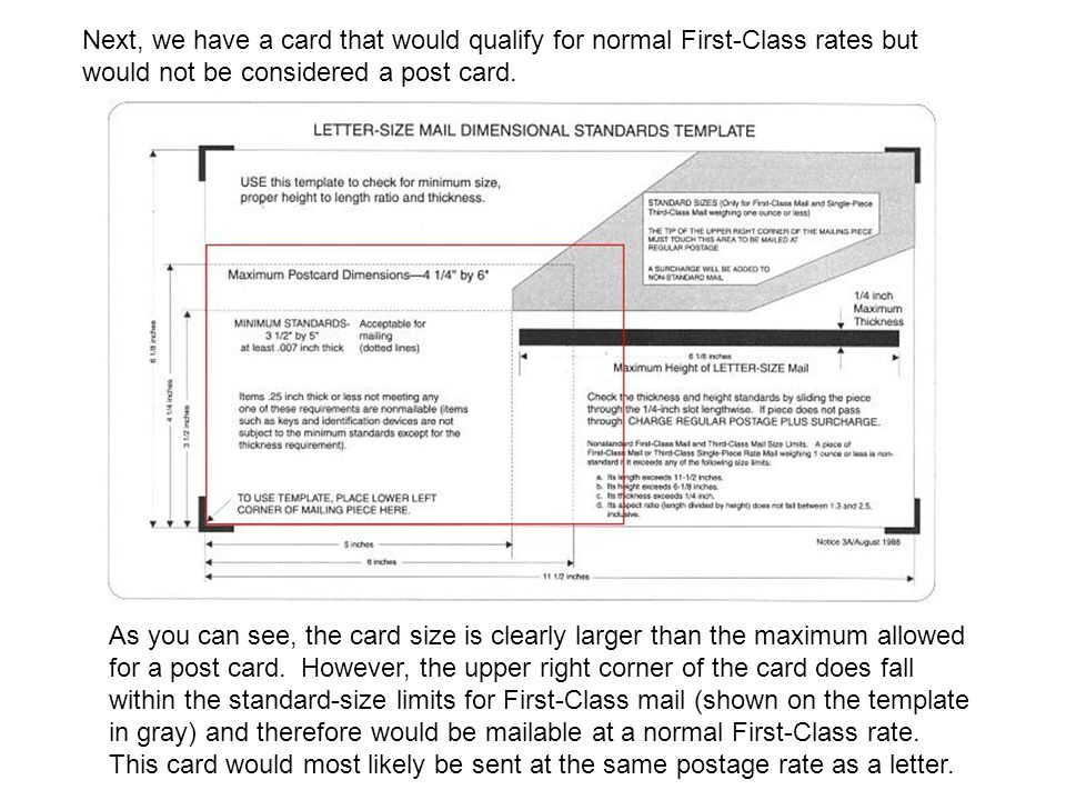 Next, we have a card that would qualify for normal First-Class rates but would not be considered a post card.