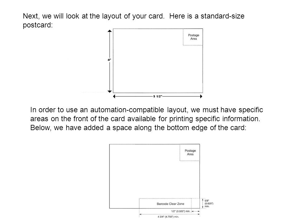 Next, we will look at the layout of your card