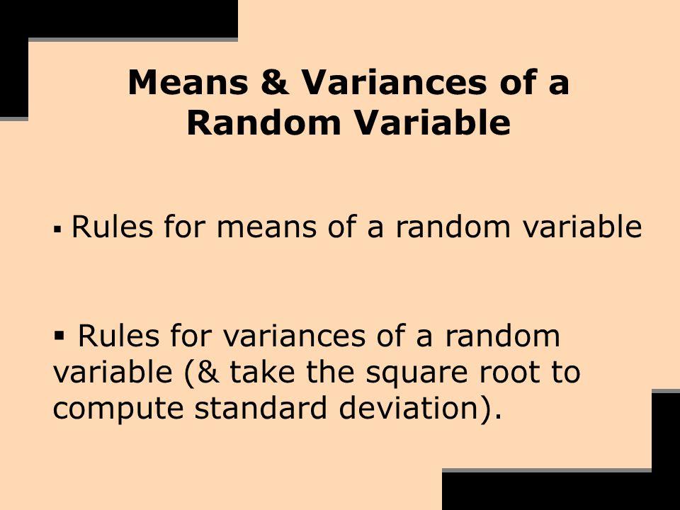 Means & Variances of a Random Variable