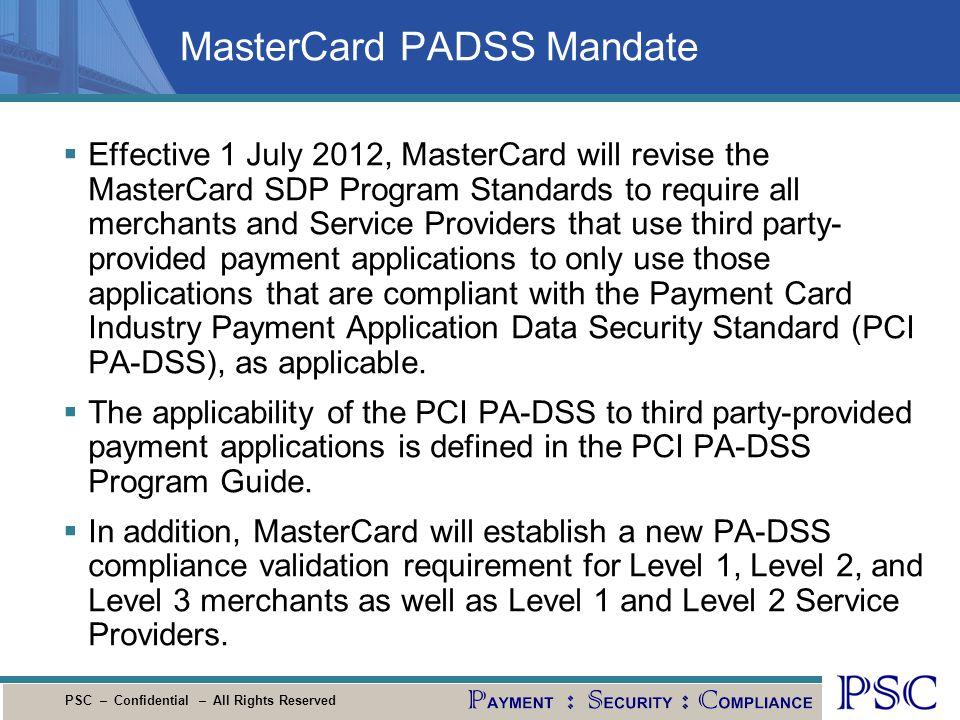 MasterCard PADSS Mandate