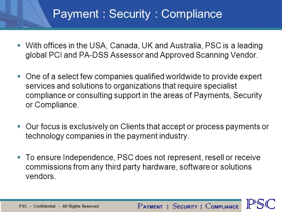 Payment : Security : Compliance