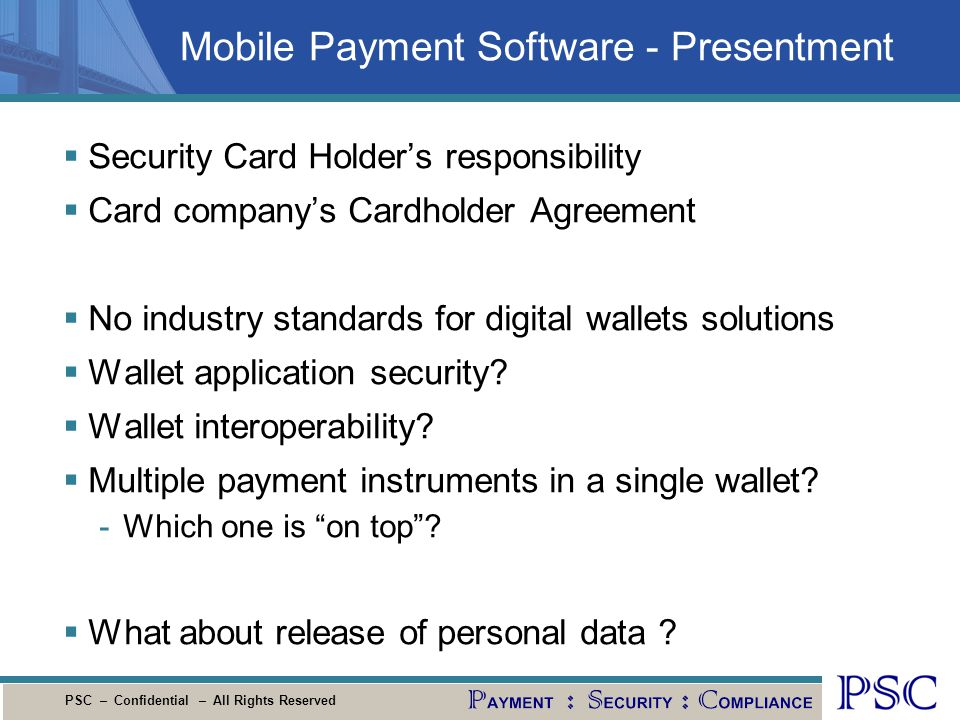 Mobile Payment Software - Presentment