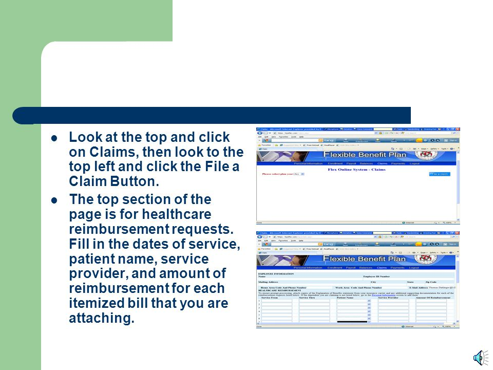 Look at the top and click on Claims, then look to the top left and click the File a Claim Button.