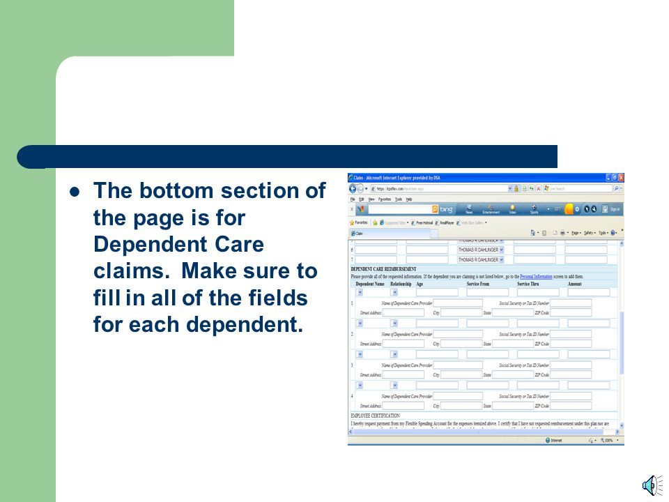 The bottom section of the page is for Dependent Care claims