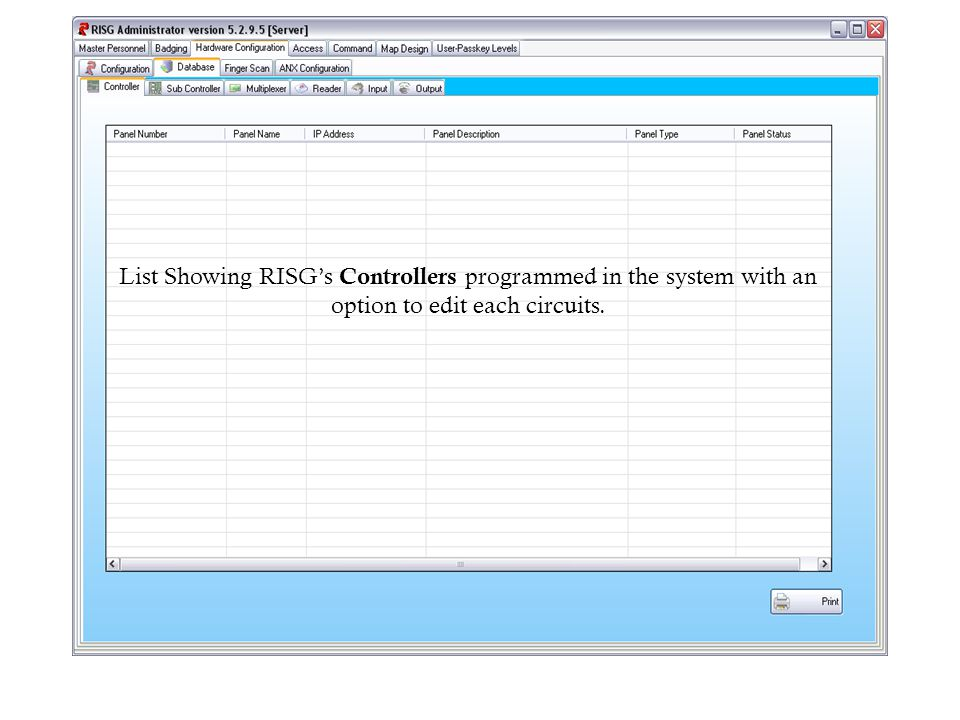 List Showing RISG's Controllers programmed in the system with an option to edit each circuits.
