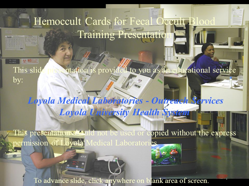 Hemoccult Cards for Fecal Occult Blood Training Presentation