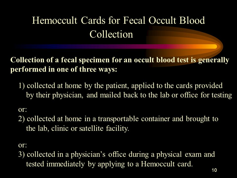 Hemoccult Cards for Fecal Occult Blood Collection