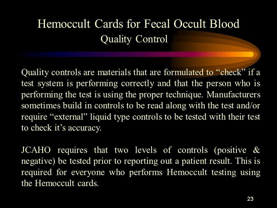 Hemoccult Cards for Fecal Occult Blood