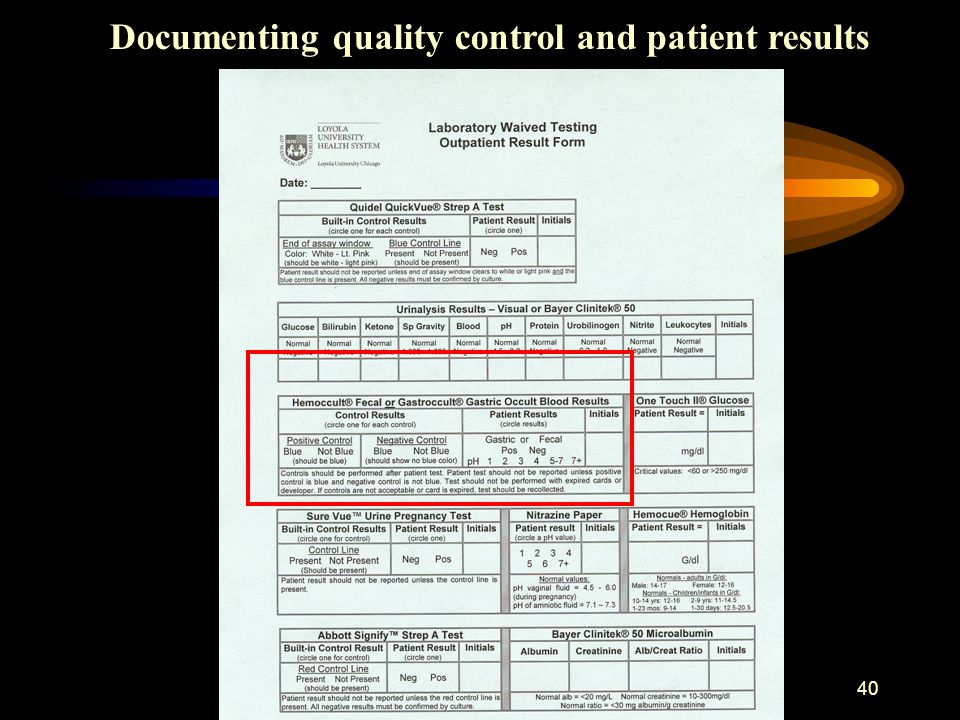 Documenting quality control and patient results