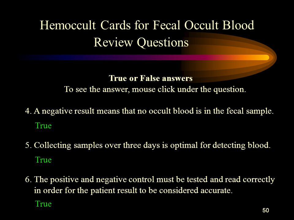 Hemoccult Cards for Fecal Occult Blood Review Questions