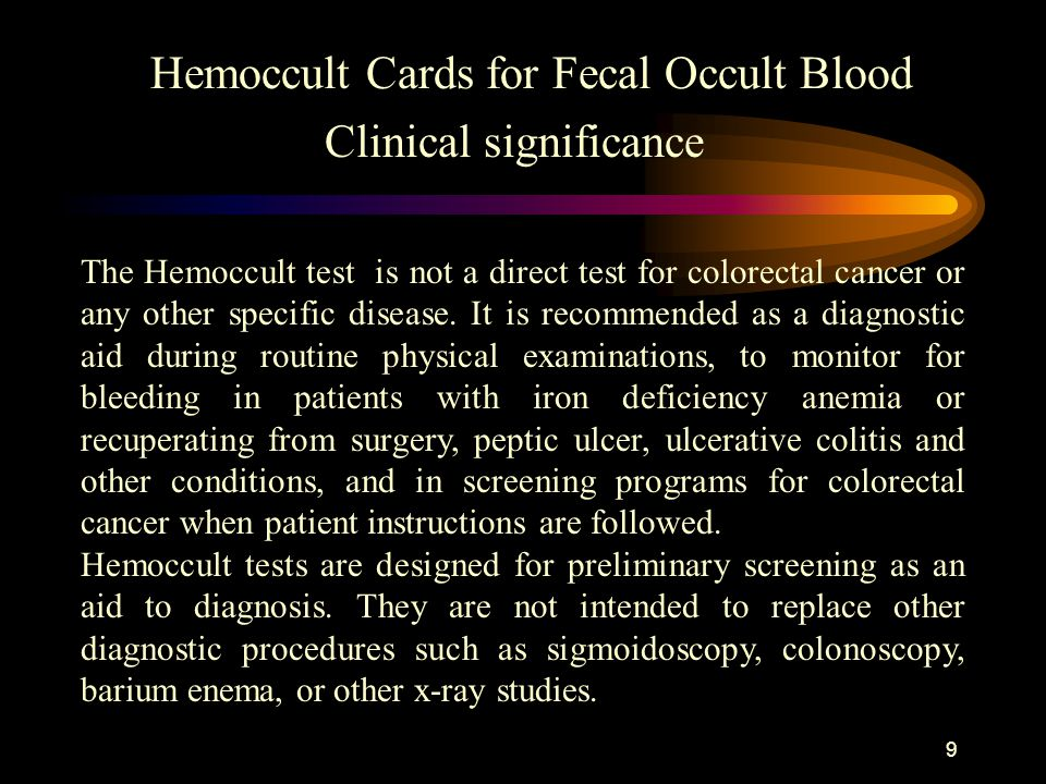 Hemoccult Cards for Fecal Occult Blood Clinical significance