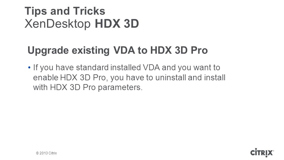 Upgrade existing VDA to HDX 3D Pro
