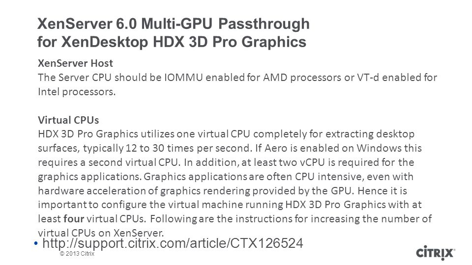 XenServer 6.0 Multi-GPU Passthrough for XenDesktop HDX 3D Pro Graphics