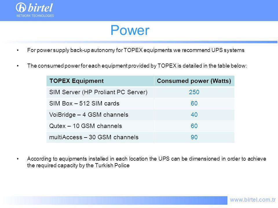 Power consume TOPEX Equipment Consumed power (Watts)