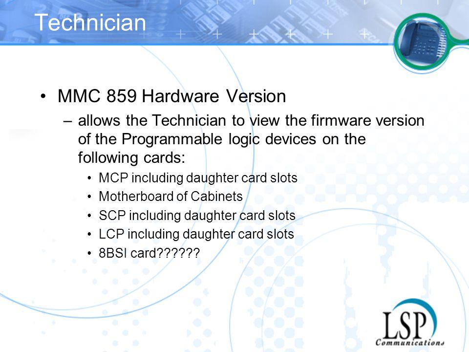 Technician MMC 859 Hardware Version
