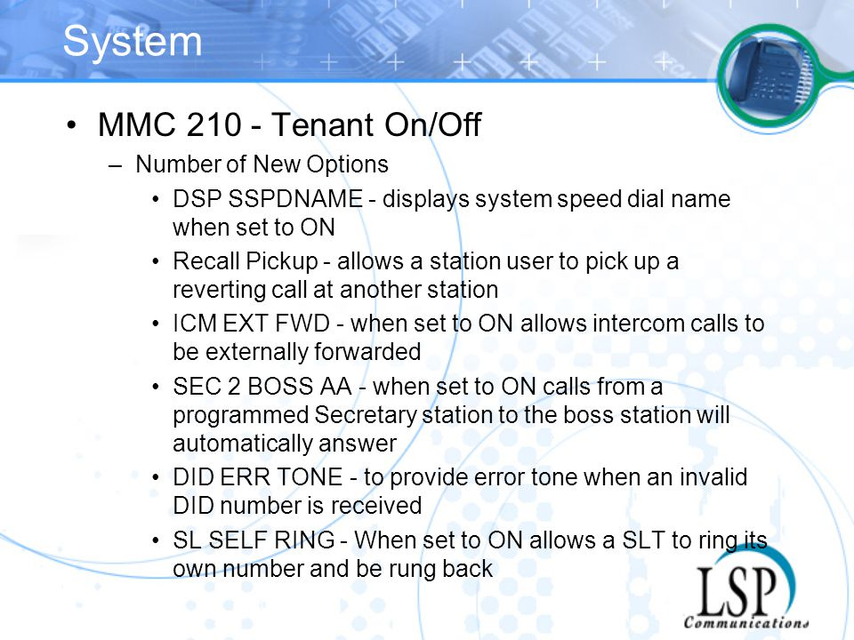 System MMC 210 - Tenant On/Off Number of New Options