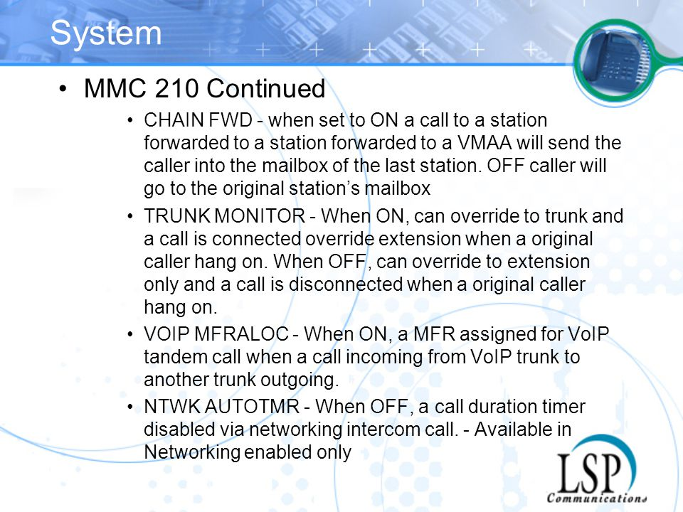 System MMC 210 Continued.
