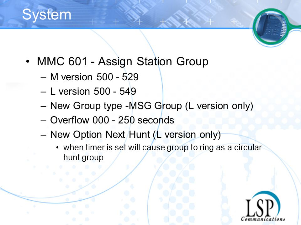 System MMC 601 - Assign Station Group M version 500 - 529