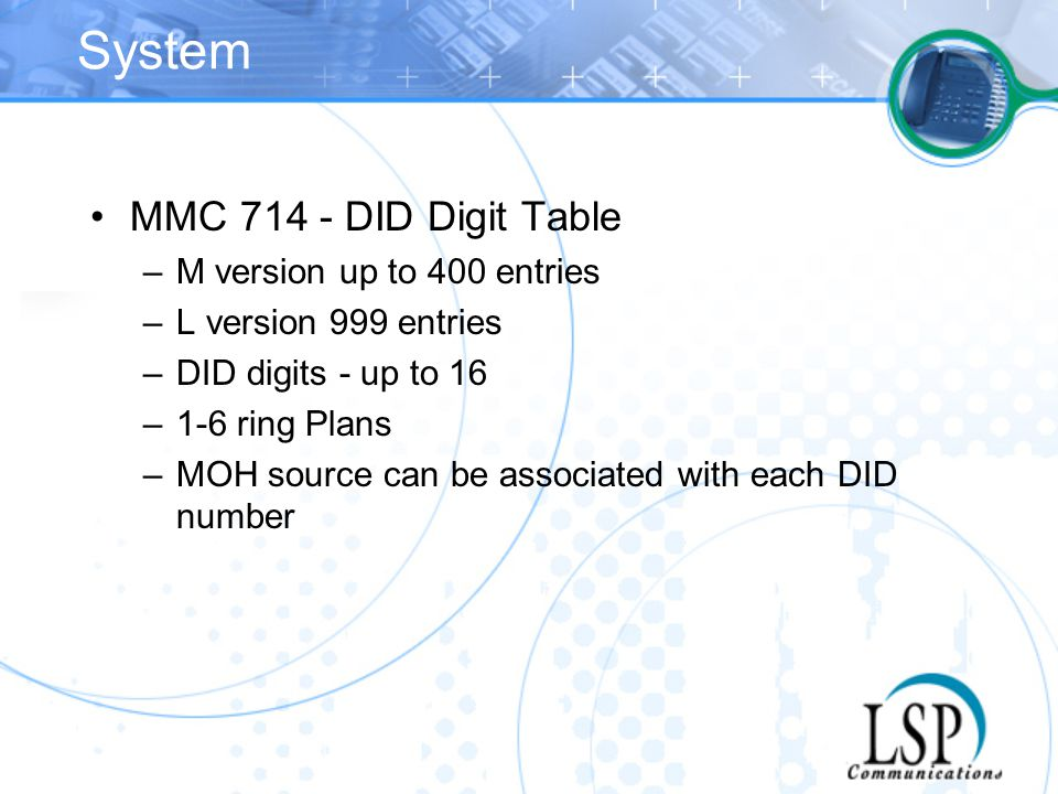 System MMC 714 - DID Digit Table M version up to 400 entries