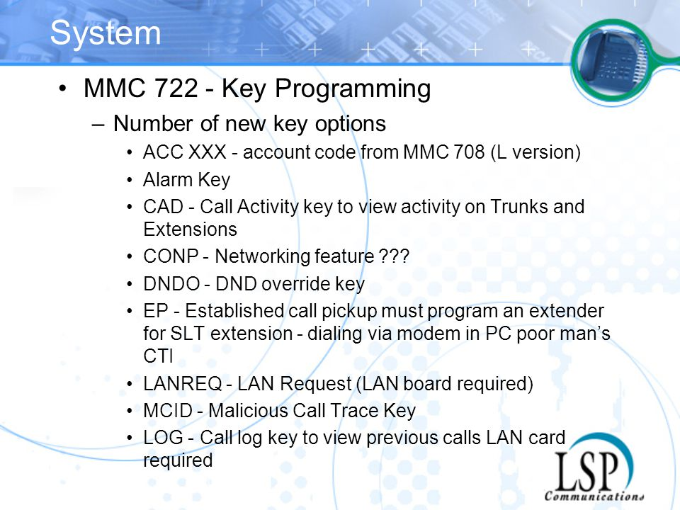 System MMC 722 - Key Programming Number of new key options