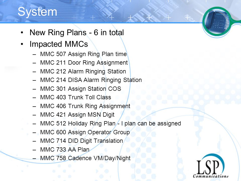 System New Ring Plans - 6 in total Impacted MMCs