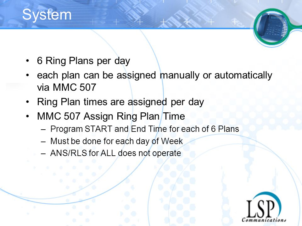 System 6 Ring Plans per day
