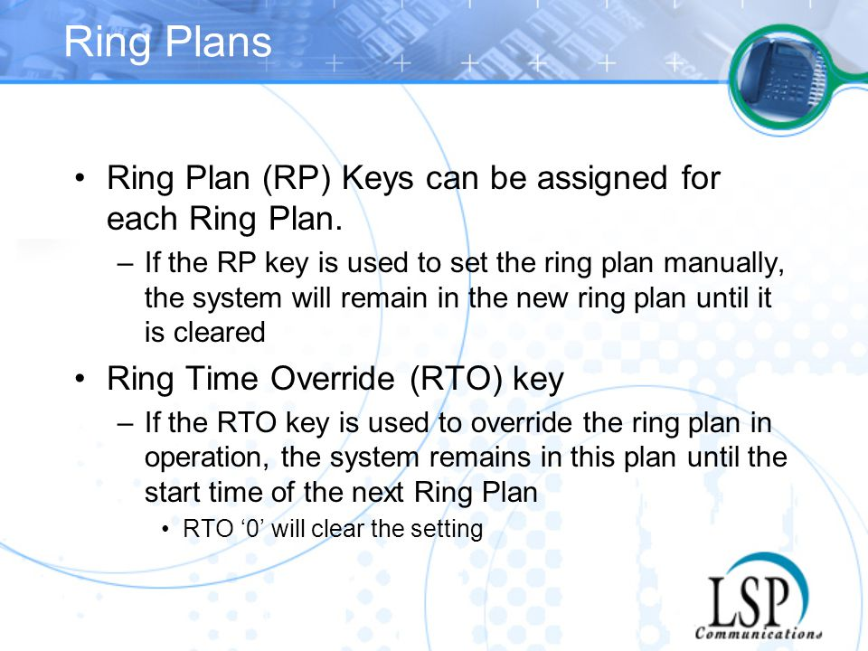 Ring Plans Ring Plan (RP) Keys can be assigned for each Ring Plan.