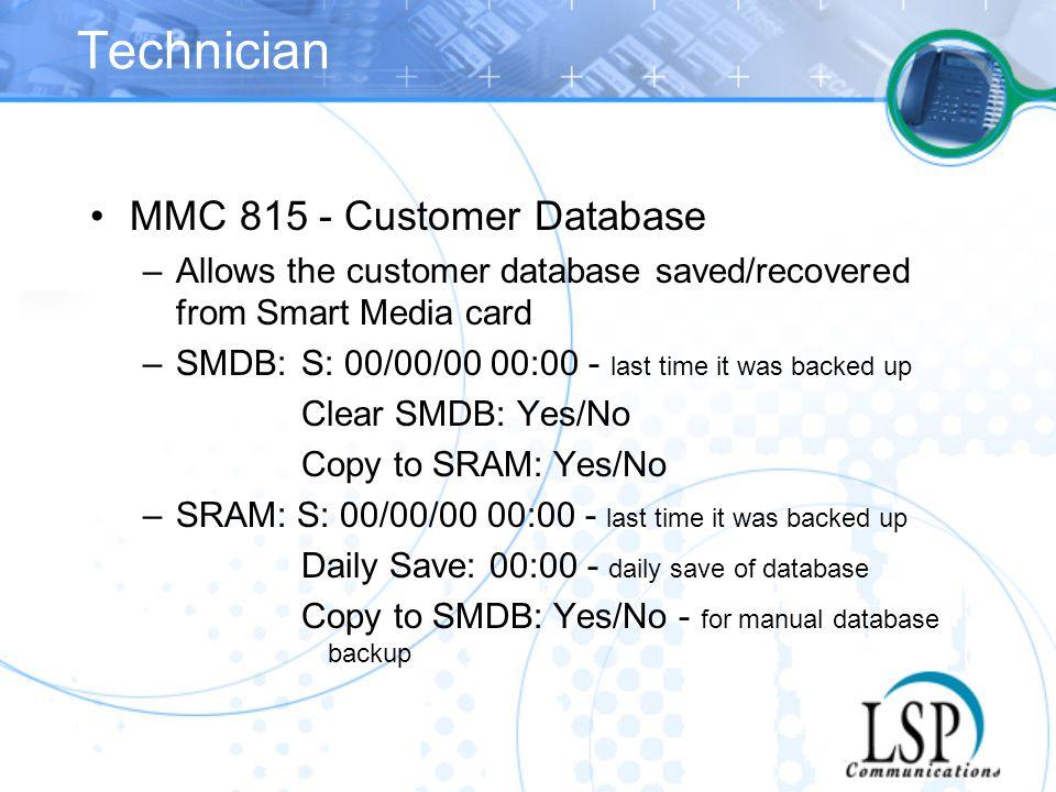 Technician MMC 815 - Customer Database