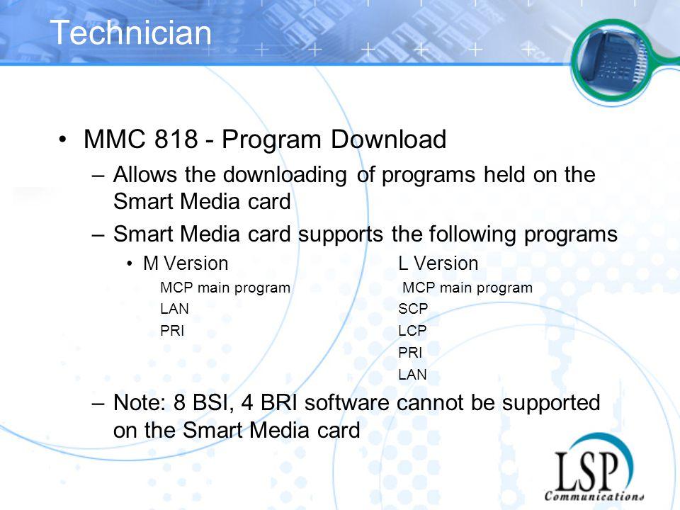 Technician MMC 818 - Program Download
