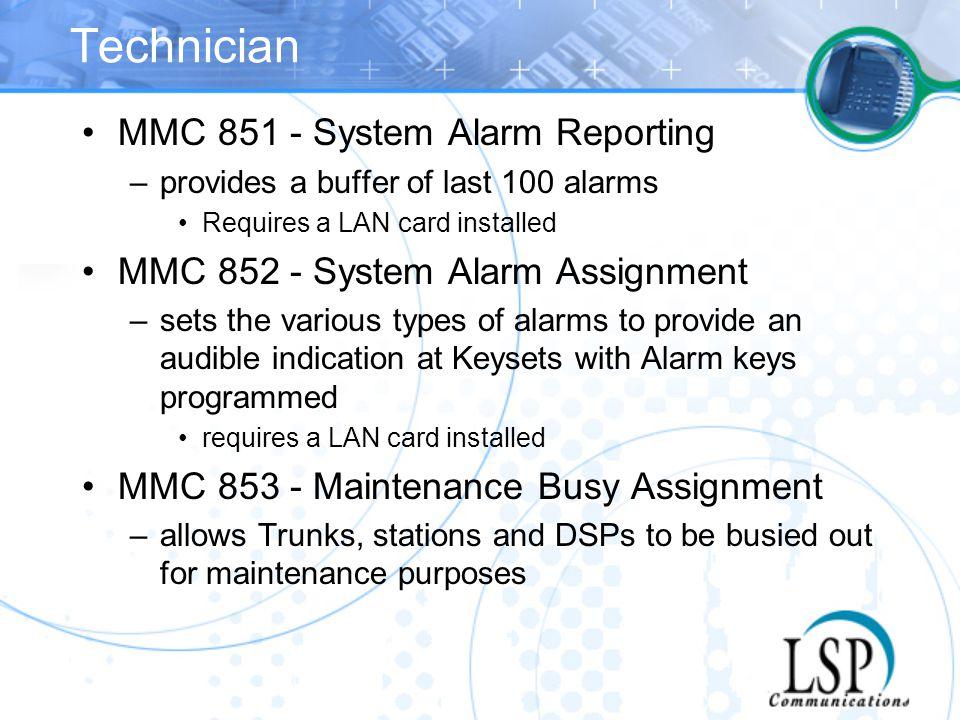 Technician MMC 851 - System Alarm Reporting