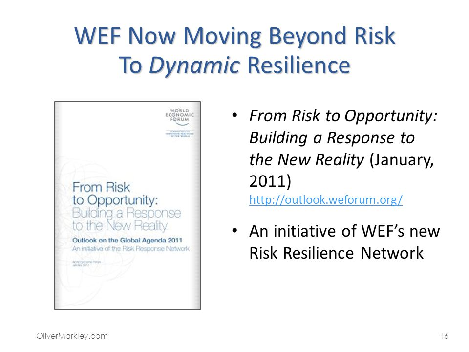 WEF Now Moving Beyond Risk To Dynamic Resilience