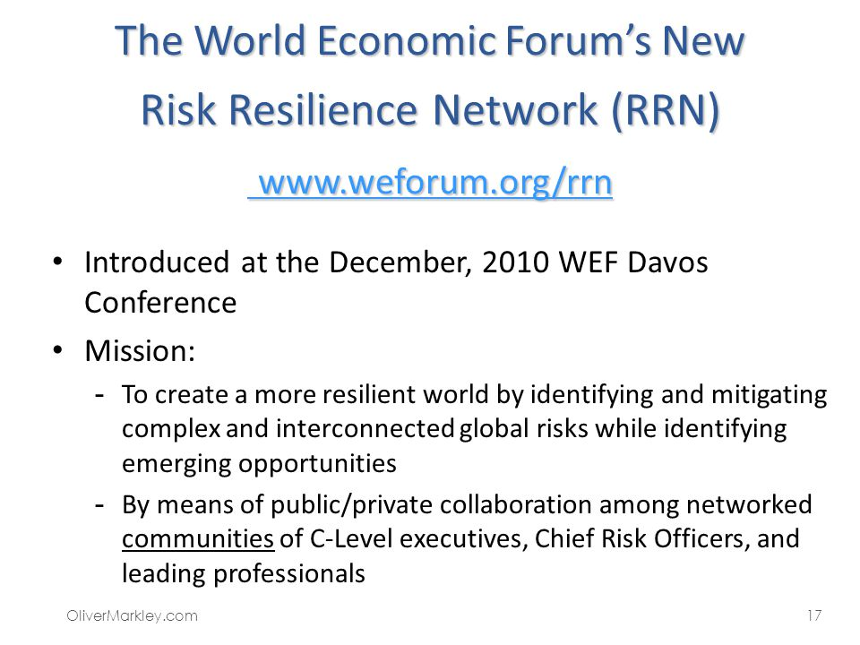 The World Economic Forum's New Risk Resilience Network (RRN) www