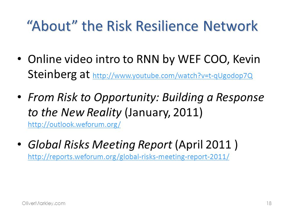About the Risk Resilience Network