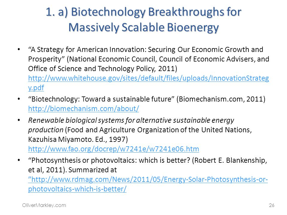 1. a) Biotechnology Breakthroughs for Massively Scalable Bioenergy