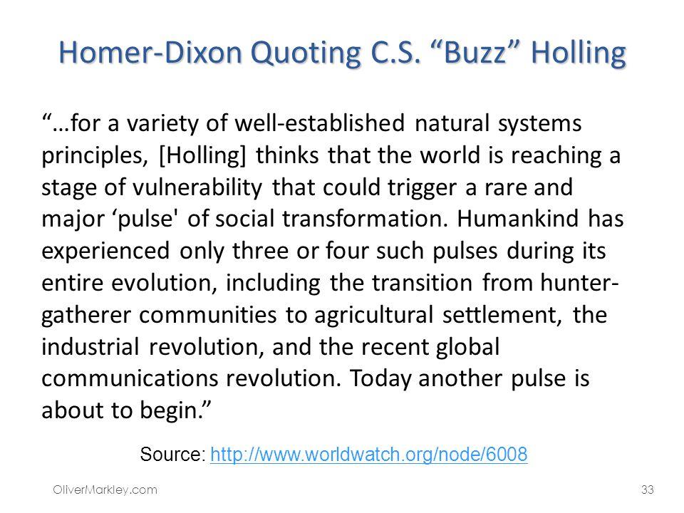 Homer-Dixon Quoting C.S. Buzz Holling