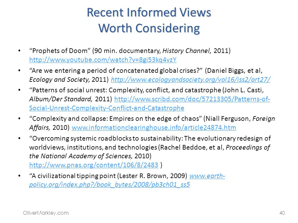 Recent Informed Views Worth Considering