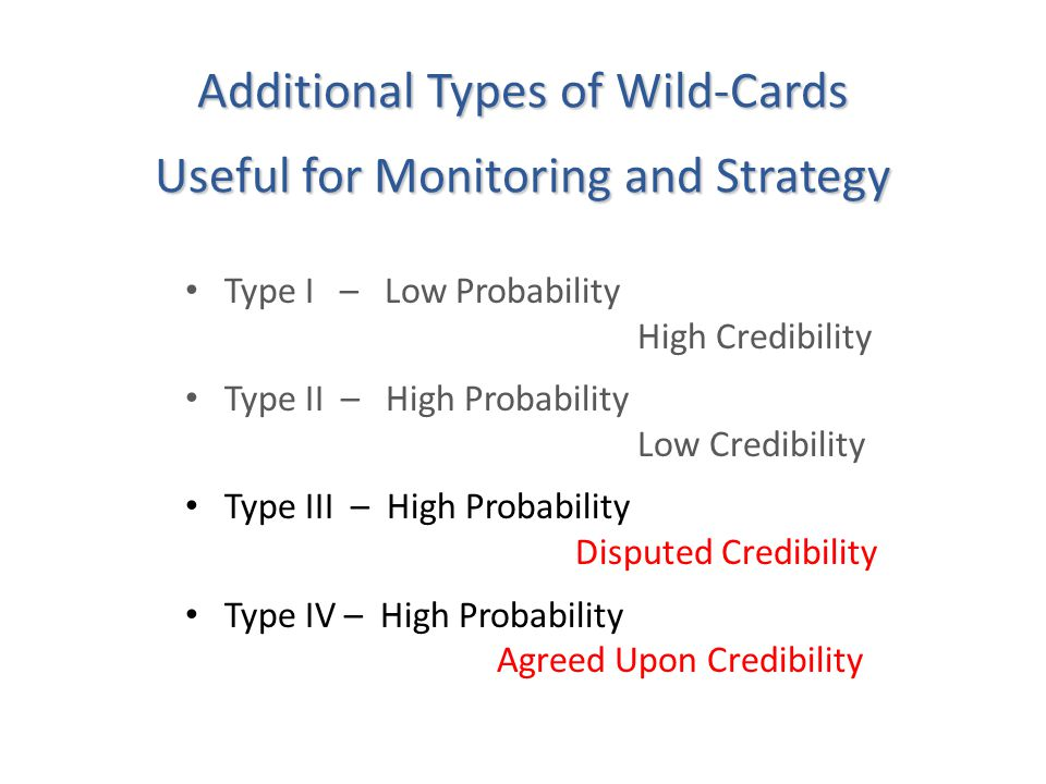 Additional Types of Wild-Cards Useful for Monitoring and Strategy