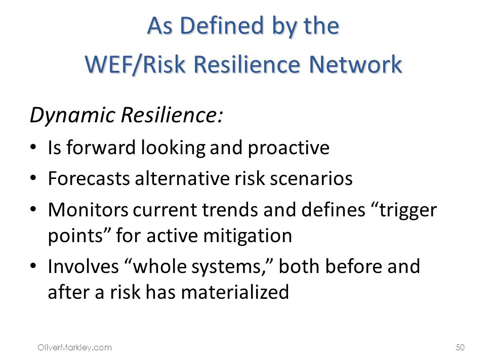 As Defined by the WEF/Risk Resilience Network