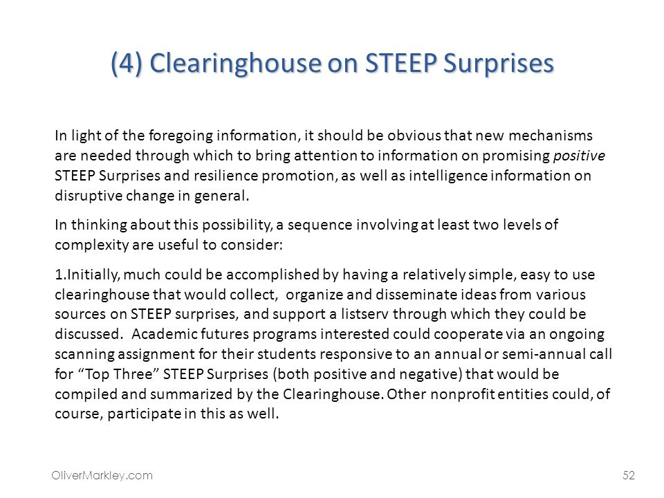 (4) Clearinghouse on STEEP Surprises