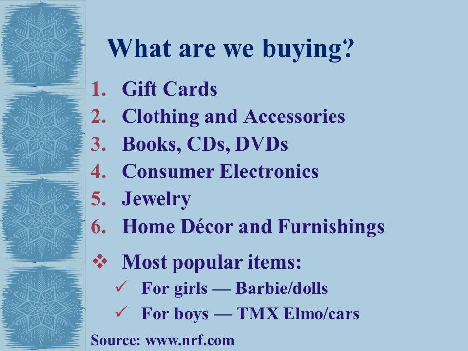 What are we buying Gift Cards Clothing and Accessories