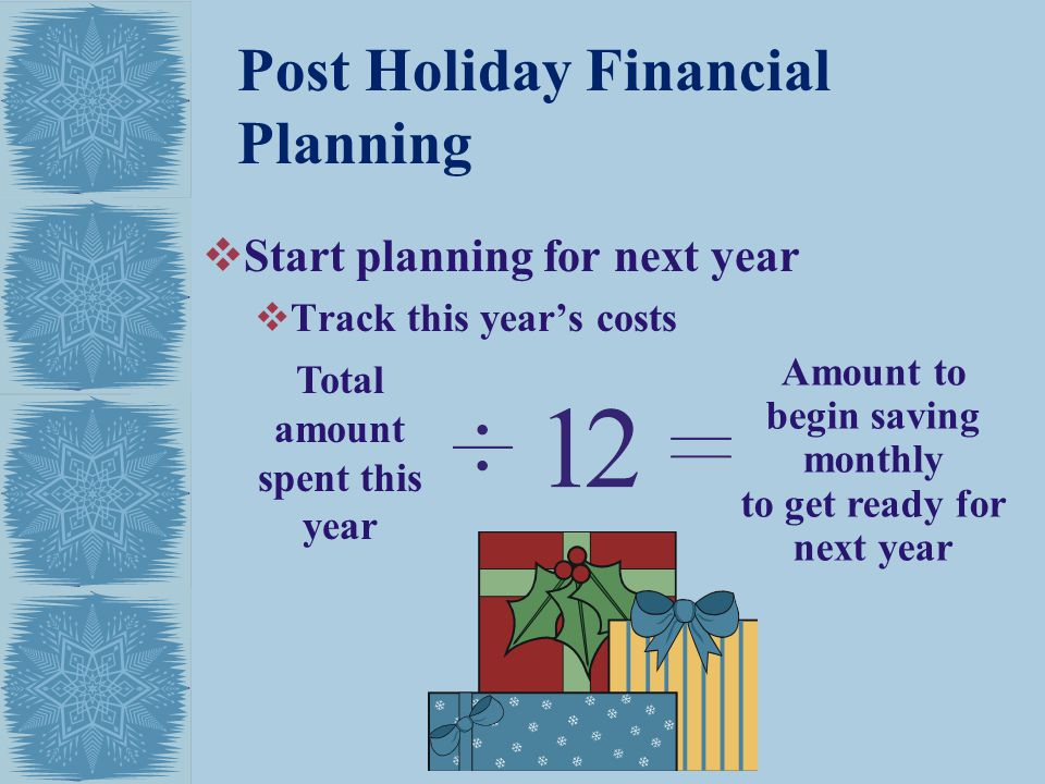 Post Holiday Financial Planning