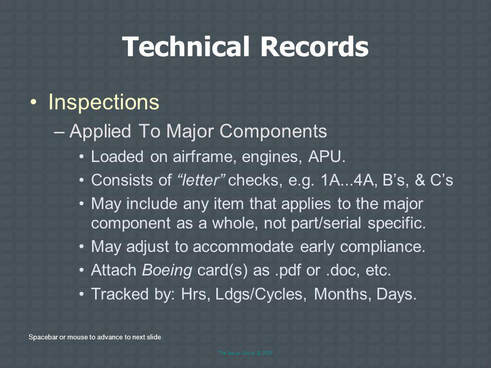 Technical Records Inspections Applied To Major Components