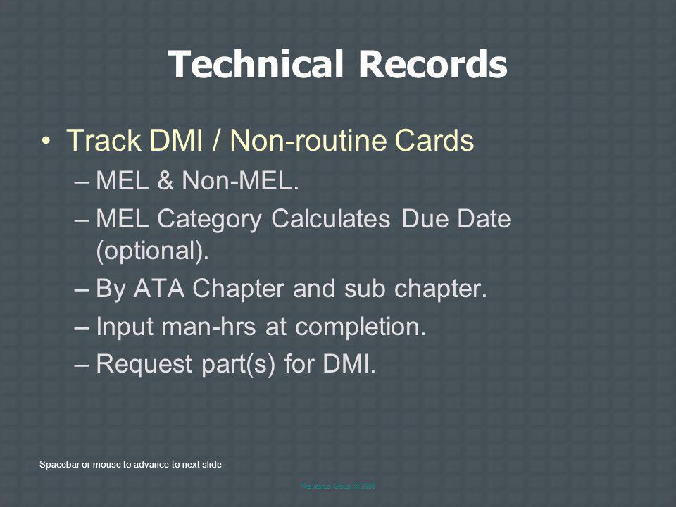 Technical Records Track DMI / Non-routine Cards MEL & Non-MEL.