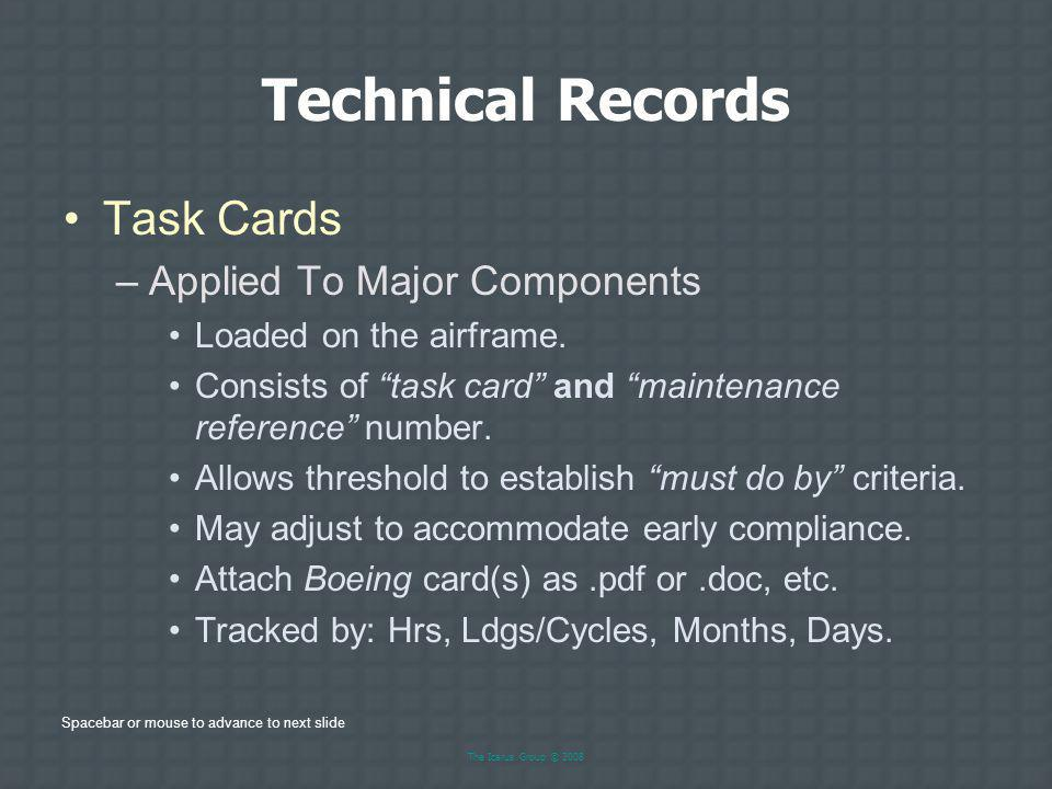 Technical Records Task Cards Applied To Major Components