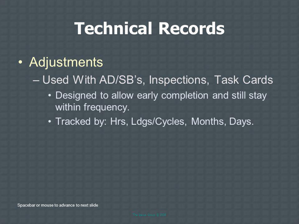 Technical Records Adjustments