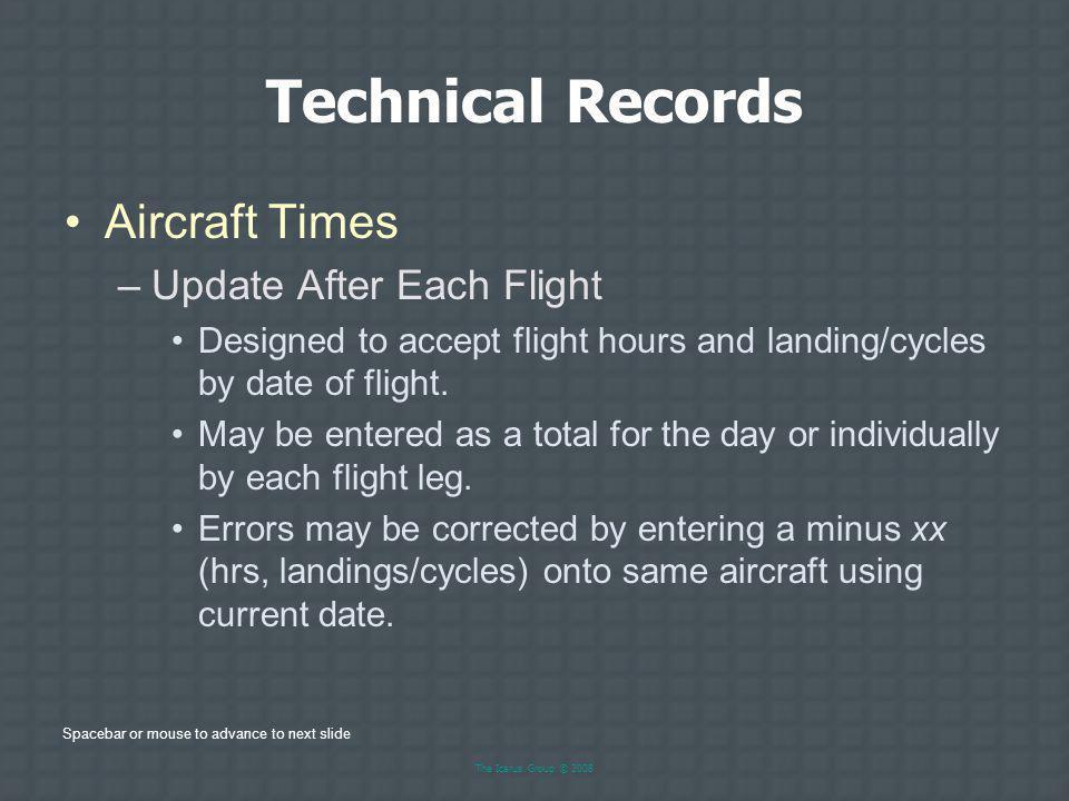 Technical Records Aircraft Times Update After Each Flight