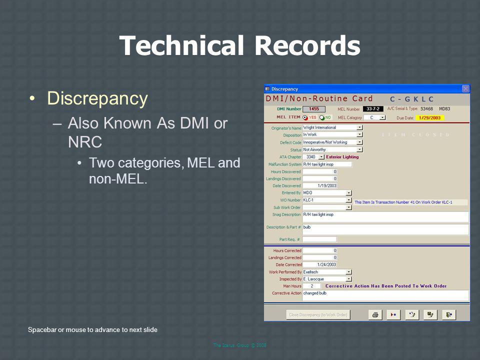 Technical Records Discrepancy Also Known As DMI or NRC