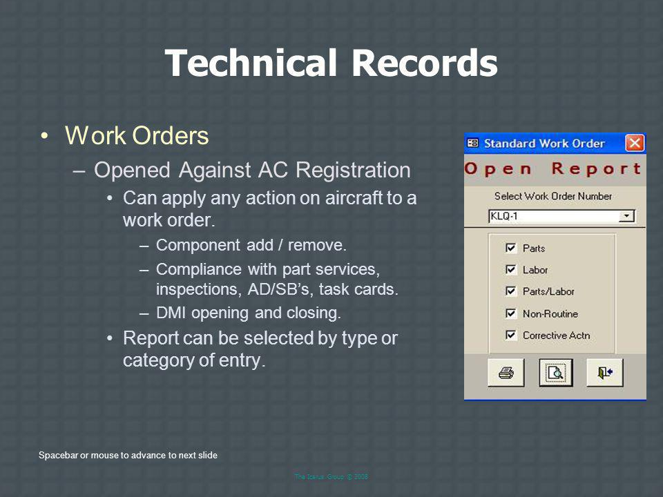 Technical Records Work Orders Opened Against AC Registration