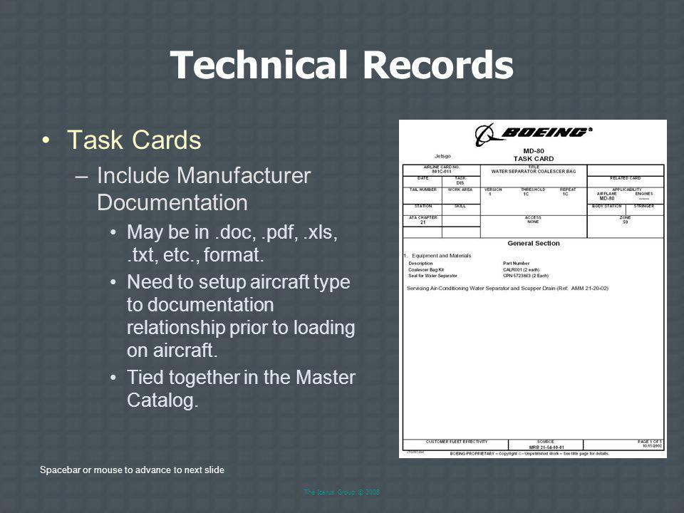Technical Records Task Cards Include Manufacturer Documentation