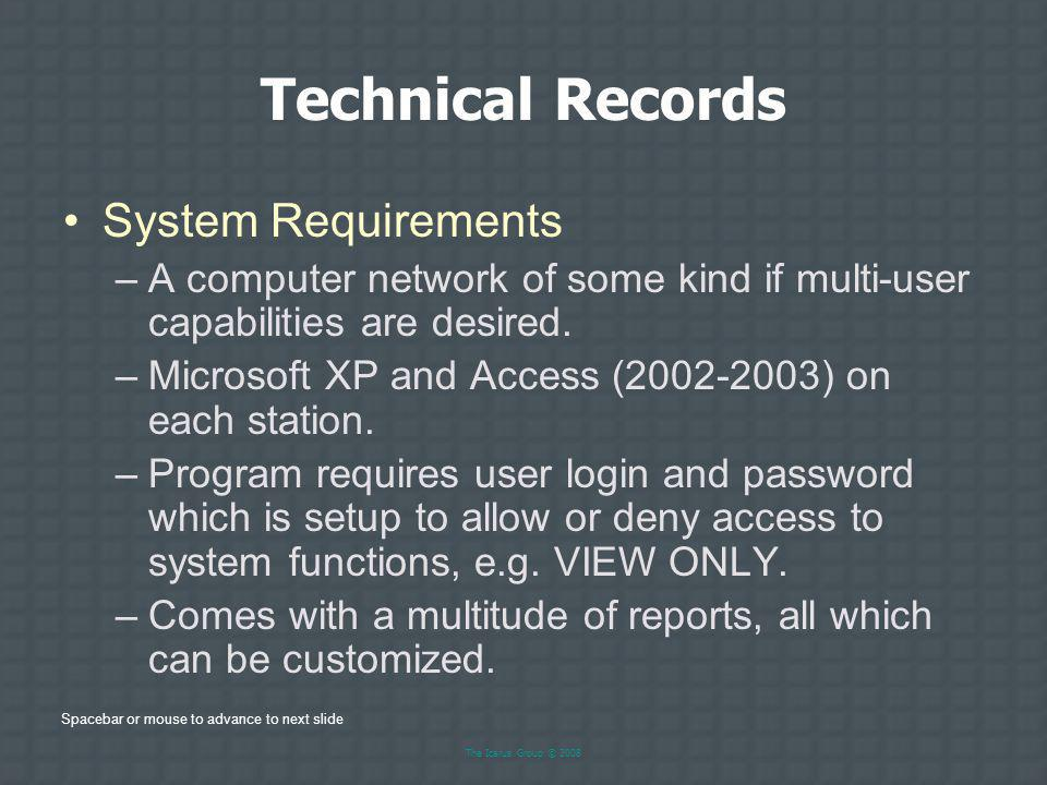 Technical Records System Requirements